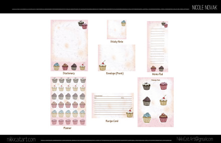 Cupcake Stationary Set